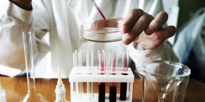 Лаборант и пробирки с кровью для анализа